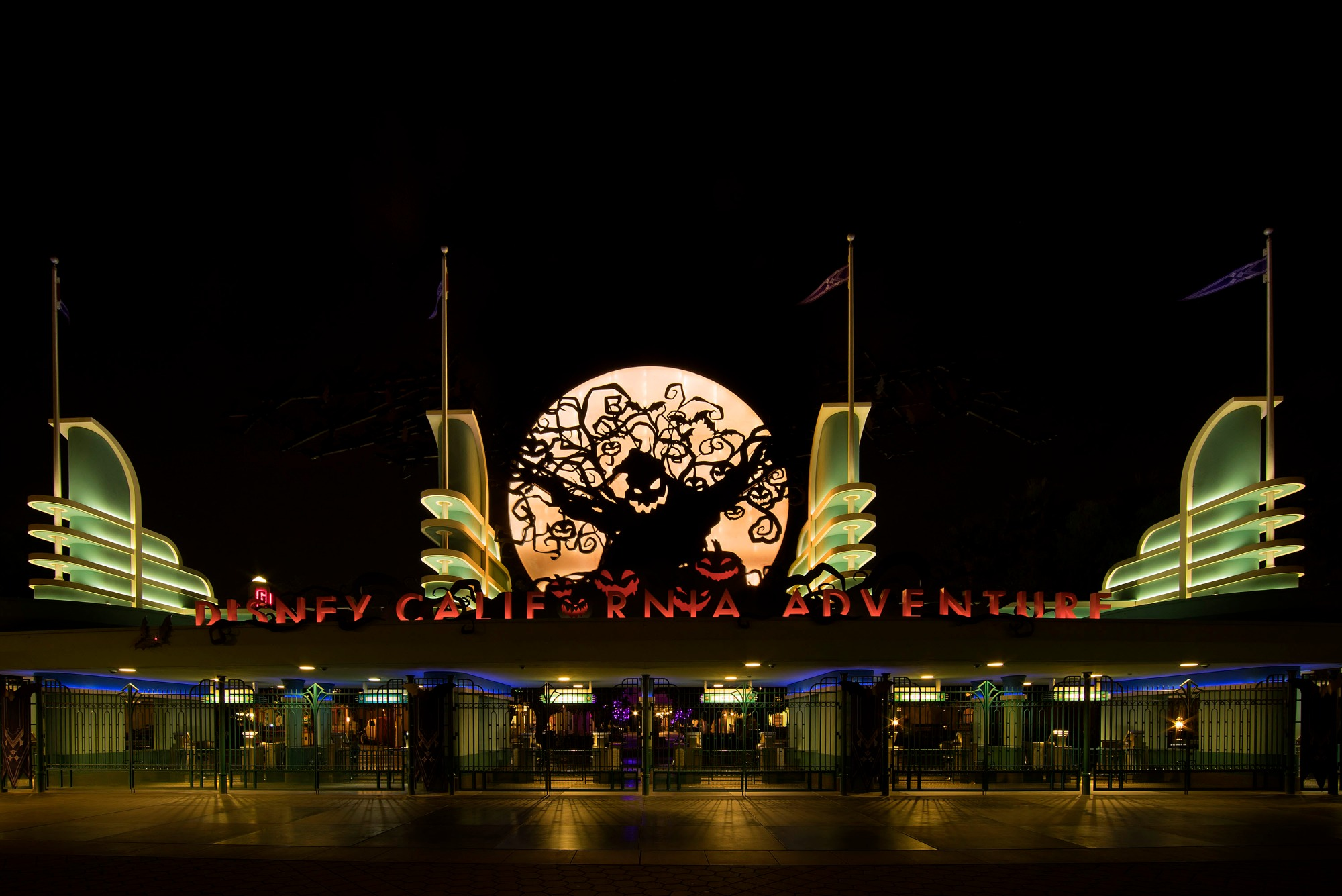 HALLOWEEN TIME COMES TO DISNEY CALIFORNIA ADVENTURE PARK -- Oogie Boogie takes over Disney California Adventure with his twisted tale of a forever Halloween, inspired by ÒTim BurtonÕs The Nightmare Before ChristmasÓ during Halloween Time at the Disneyland Resort. Oogie BoogieÕs oversized silhouette beckons guests through the main entrance of Disney California Adventure park and he brings to life a swarm of bats around Carthay Circle Restaurant and Lounge. (Joshua Sudock/Disneyland Resort)